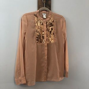 Sheer sequin blouse by Charming Charlie size MED